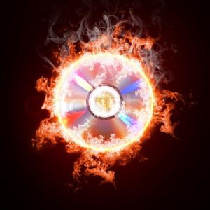 Music CD in open fire